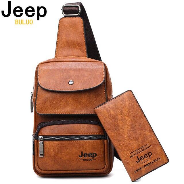 JEEP BULUO Männer Brust Tasche 2 stücke Set Hohe Qualität Split Leder Unisex Crossbody Sling Tasche Für iPad Große Größe mann der Reisetasche Marke