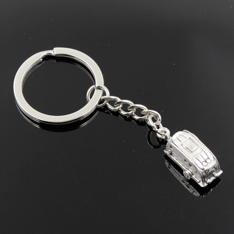 New Fashion Men 30mm Keychain DIY Metal Holder Chain Vintage Shuttle Trailer Touring 26x7x6mm Silver Color Pendant Gift