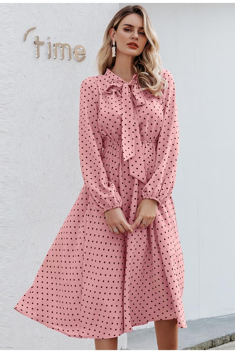 Elegant V-Neck Polka Dot Bow Dress 3