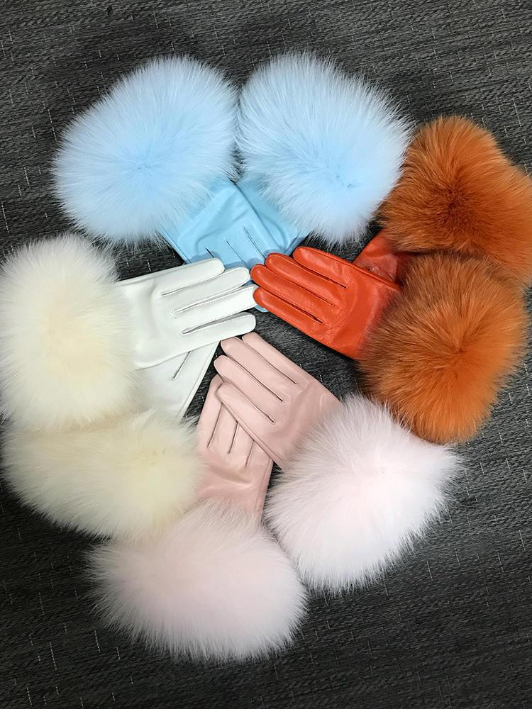 Fox-Fur-Gloves Oversized Real-Sheepskin Fluffy Warm-Fashion-Style Natural Women's Genuine-Leather