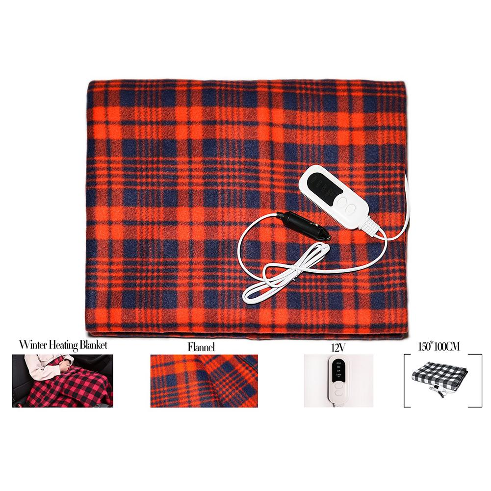 12V Electric Blanket Plush Fleece Heater Warmer 150X100cm Heated Blanket Temperature Control Automatically Power Off 4 Hour Late