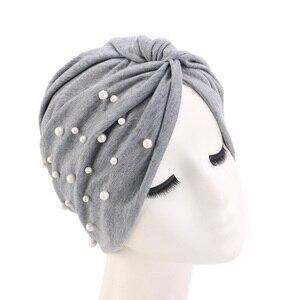 Image 5 - New Muslim Women Pearl Beading Elastic Turban Hat Cancer Cap Head Wrap cotton twist Chemo Cap Beanie Hijab Caps Headwear