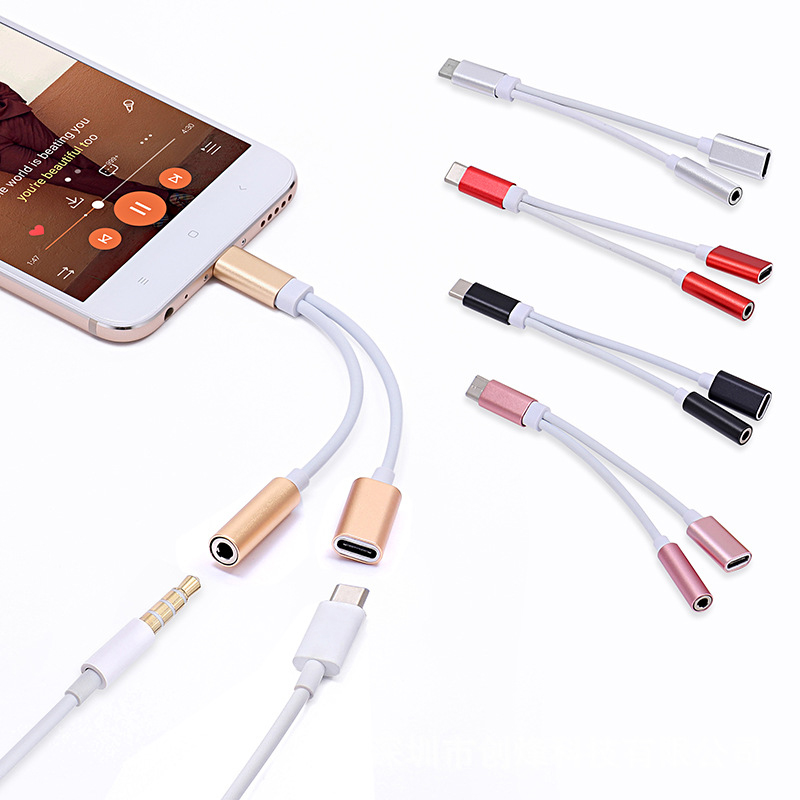 USB-C To 3.5 AUX Audio Cable 2in1 USB Type C To 3.5mm Jack Audio Splitter USB C Earphone Cable Charging Adapter TSLM1
