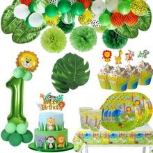 Partito giungla Animale Da Tavola Verde Numero Palloncini Toppers Cupcake Selvaggio di Un Primo Compleanno Baby Shower Bambini Safari Rifornimento Del Partito