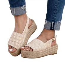 2020 Women Summer Casual Wedges Sandals Cane Grass Knitting Platforms Shoes Slipper Indoor Outdoor