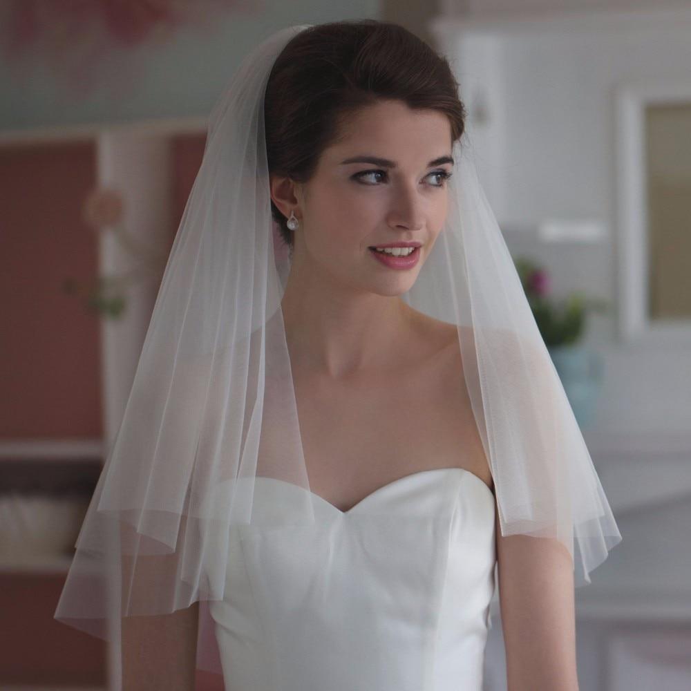Elegant Short Woman Bridal Veils 1 Layer 75 CM With Comb Ivory Veil For Bridal Cut Edge Tulle Wedding Veil Cheap