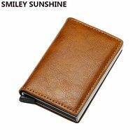 Top Quality Automatical Aluminium Rfid Wallet Men Money Bag Mini Purse Male Vintage Slim Card Holder Wallet Samll Smart Wallet|Wallets| |  -