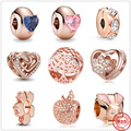Новый 925 пробы серебро переплетенные сердца Косынка клип бисером розовое, очаровательный, подрходит к оригиналу Подвески Пандора браслет и...