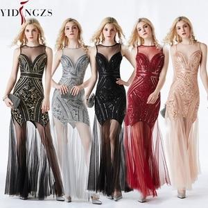 Image 4 - YIDINGZS Vestido largo de noche con pedrería de lentejuelas, negro y dorado, Sexy, para fiesta y noche, YD919