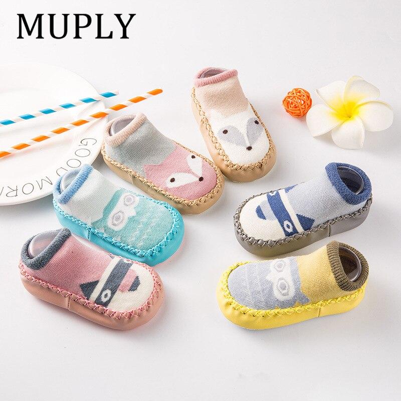 Baby shoes socks Children Infant Cartoon Socks Baby Gift Kids Indoor Floor Socks Leather Sole Non-Slip Thick Towel Socks(China)