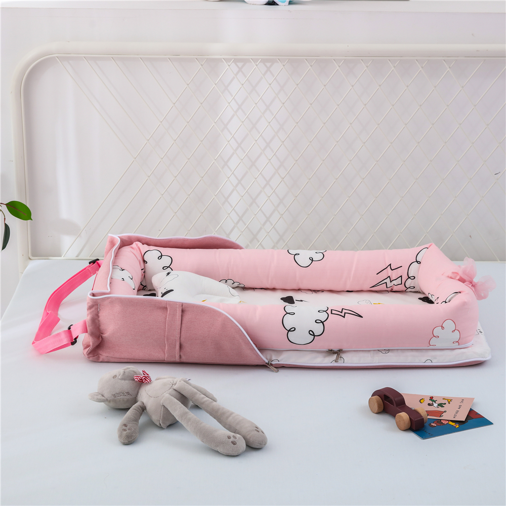 85*45cm Portable Baby Nest Bed Crib Mat For Boys Girls Travel Bed Infant Cotton Cradle Pillow Newborn Baby Nest Bumper