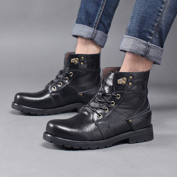 mens fashion outdoor cowboy boots natural leather tooling shoes non-slip platform ankle military boot zapatos de hombre man bota