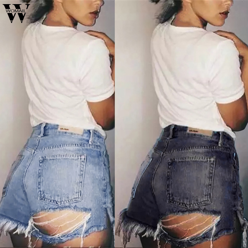 Womail Women Shorts New Summer Sexy Denim Shorts Jeans Hole Women 2020 Blue Black Stretchy Slim Denim Short Feminino Club