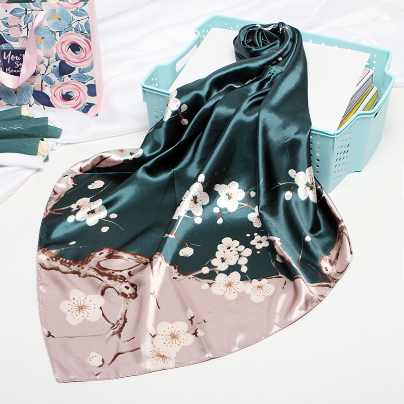 Fashion Silk Satin Women Hair Scarf Floral Print Handkerchief Shawls And Wraps Hijab Scarfs Female 90*90cm Neck Scarves For Lady