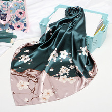 Fashion Silk Satin Women Hair Scarf Floral Print Handkerchief Shawls and