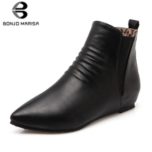 BONJOMARISA New Plus Size 31-48 Mature Pleated Chelsea Boots Women 2019 Autumn Casual Low Heels Elastic Brand Shoes Woman