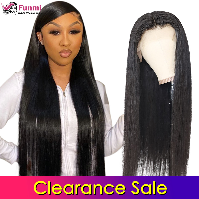 Clearance Sale 4x4 Lace Closure Wigs Human Hair Peruvian Straight Lace Wigs For Black Women Pre Plucked With Baby Hair Funmi
