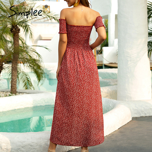 Image 5 - Simplee Sexy off shoulder women dress Floral print ruched high waist red party tube dress Casual beach maxi retro summer dress