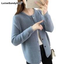 Casaco feminino de pele de vison, casaco de manga longa e veludo para outono e inverno 2020