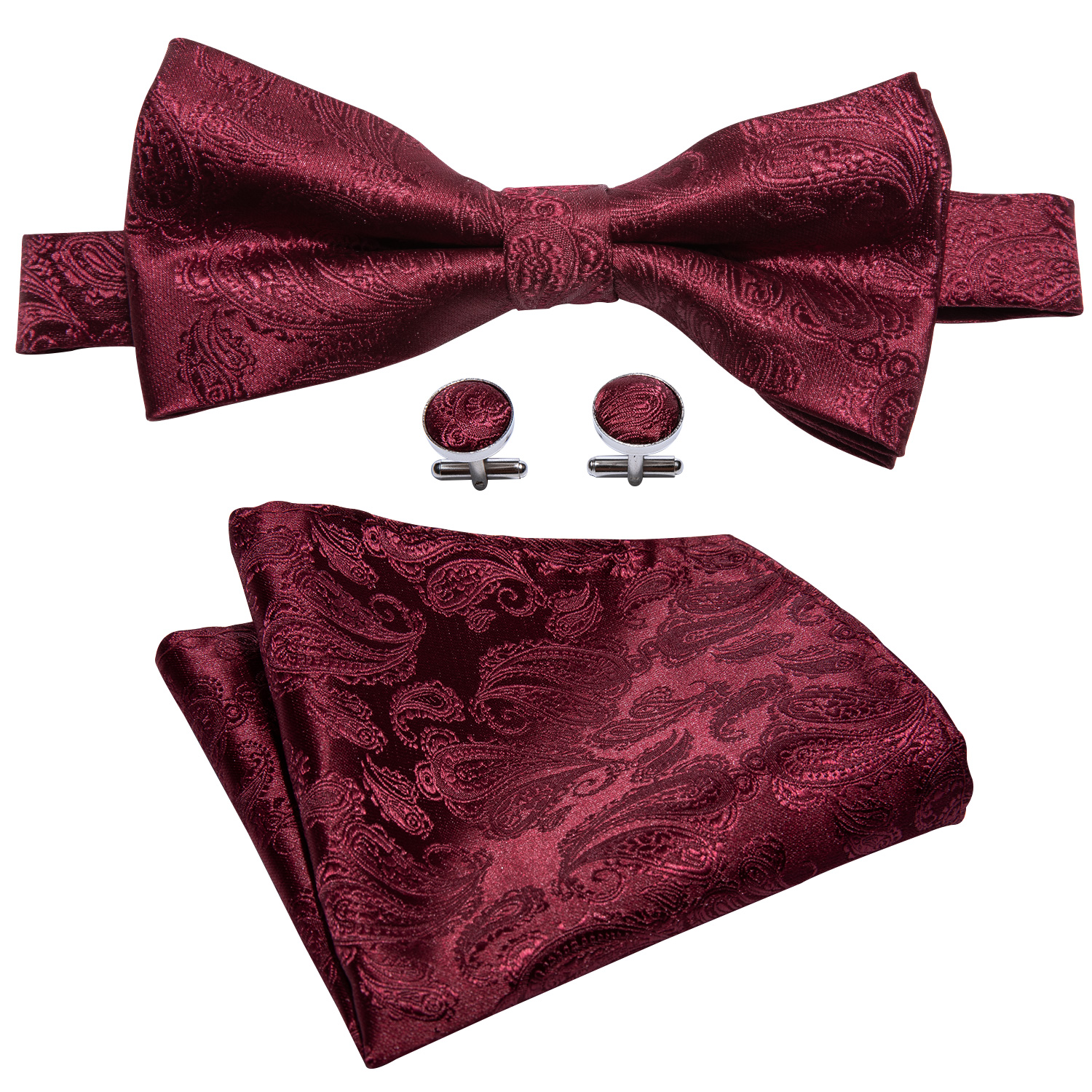 100% Silk Men Red Bow Tie Set For Wedding Floral Paisley Bows Handky Cufflinks Pre-Tied Bowtie Adjustable Necktie Barry.Wang