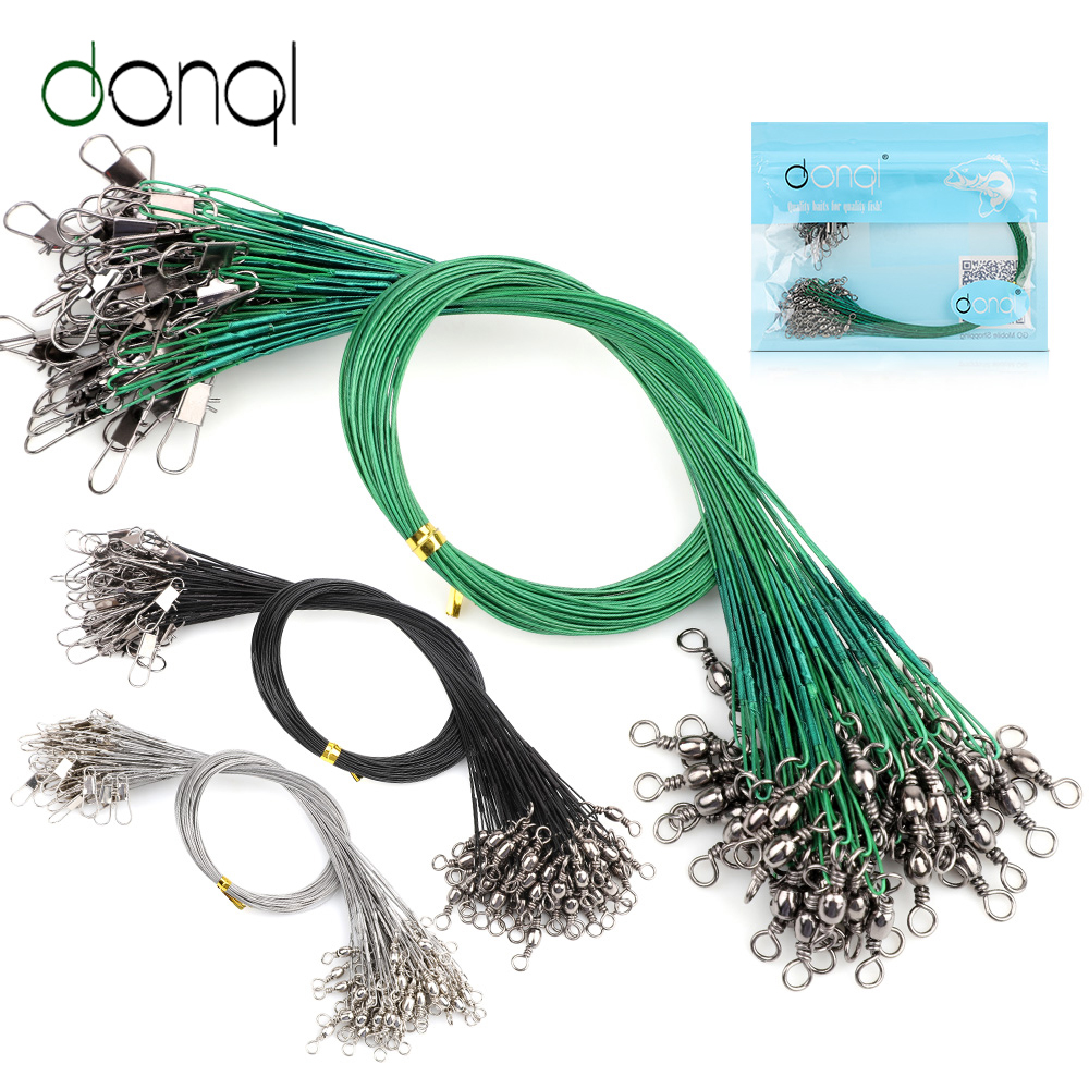 10 pcs Fishing Loop Trace Lures Leader Steel Wire Spinner 10//15 cm up to 23 lb