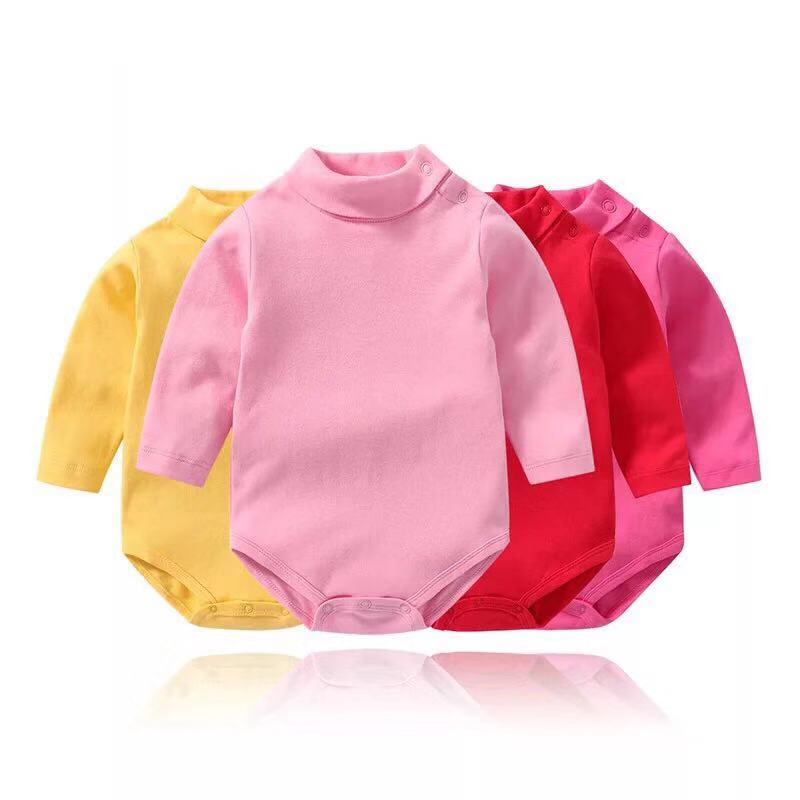 17 Color Baby Bodysuit  Long Sleeve High-necked  Solid Onesie  Jumpsuits Tops  For Baby Girl Clothes 3M-3T