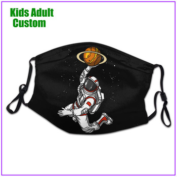 kids Men Women Astronaut Playing Basketball With Space Planet Dunk face mask reusable shield virus protection custom designs