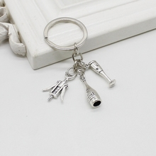 2019New Red Wine Charm Keychain Creative Opener Bottle Personality Fashion Jewelry