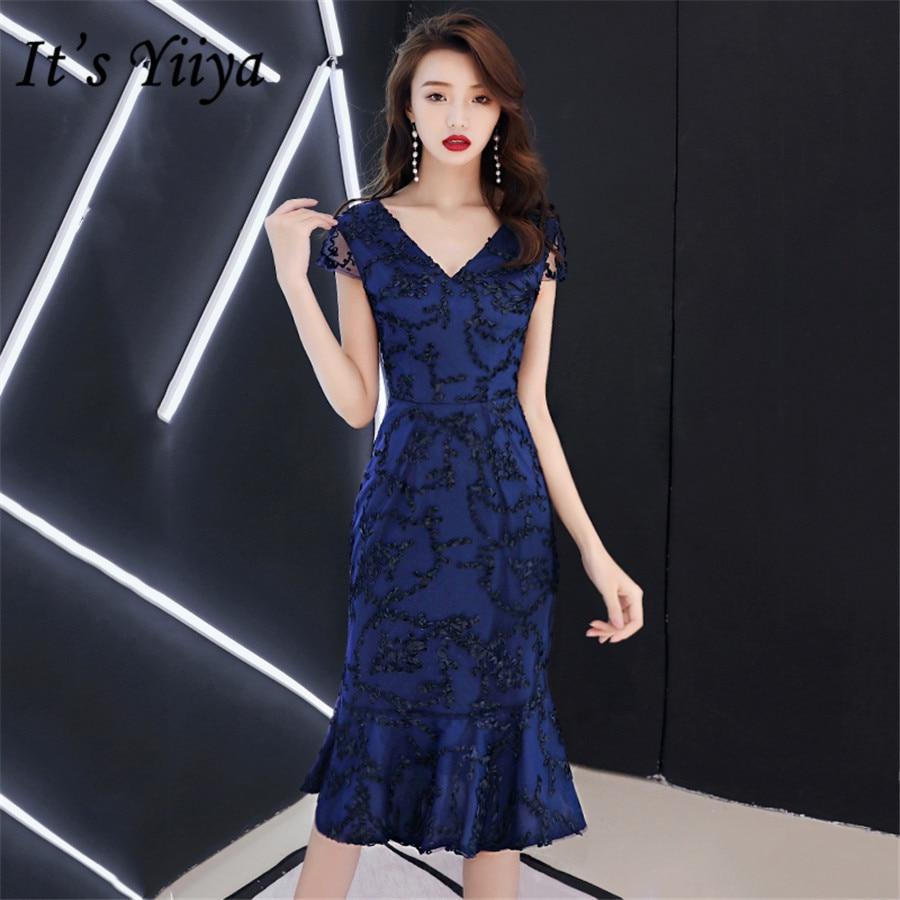 It's Yiiya Prom Dresses Mermaid Navy Blue Short Vestidos De Gala Plus Size V-neck Sleeveless Zipper Women Party Dress E1401