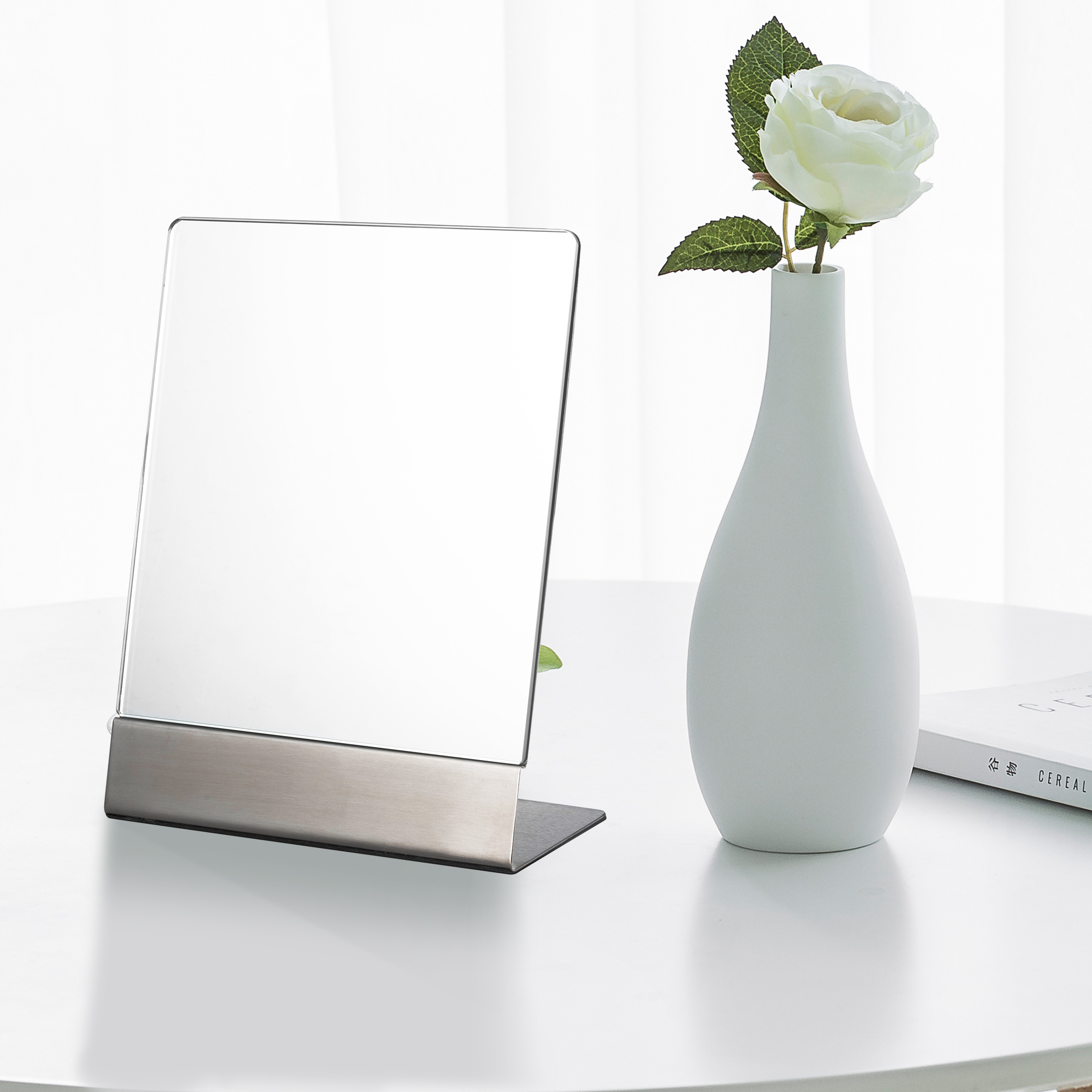 Rectangle Tabletop Large Non-Magnifying One-Sided HD Makeup Mirror With EVA Base 304 Stainless Steel Standing Mirror