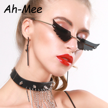 2020 Small Rimless Punk Sunglasses Women Vintage Cat Eye Black Unique Trend Fash
