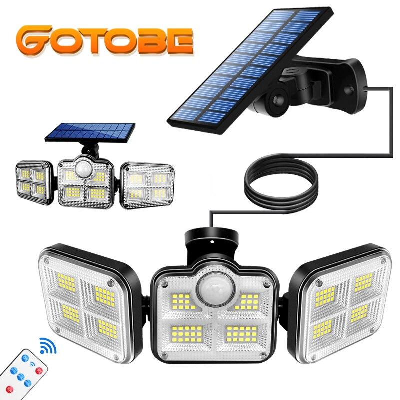 122 LED lumières solaires extérieur 3 tête capteur de mouvement 270 ° éclairage grand Angle Super lumineux étanche télécommande applique murale