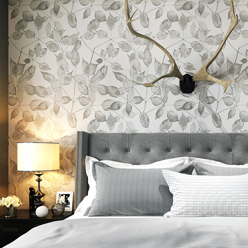 Nordic Modern Fashion Gray Small Leaves Papel De Parede Bedroom Study Living Room TV Background Restaurant Non-woven Wall Paper