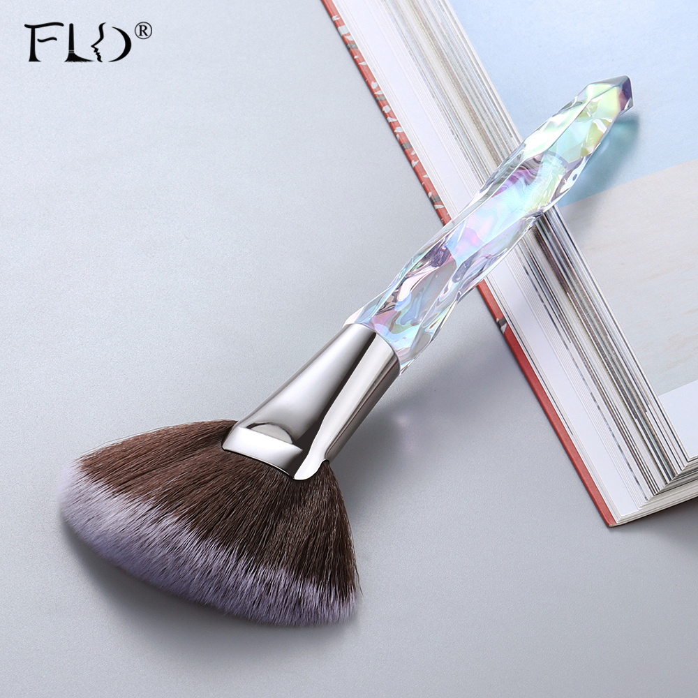 FLD Crystal Makeup Brushes Set Powder Foundation Fan Brush Eye Shadow Eyebrow Professional Blush Makeup Brush Tools