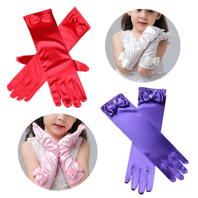 Girl Opera Party Bow Long Gloves Performance Dance Dress Gloves Stretch Satin Summer Sun Protection Gloves Party Accessories