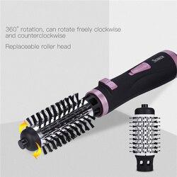 2 em 1 rotativa escova de ar quente styler pente curling ferro rolo estilo escova secador cabelo golpe com bicos 2 velocidade & 3 ajuste calor