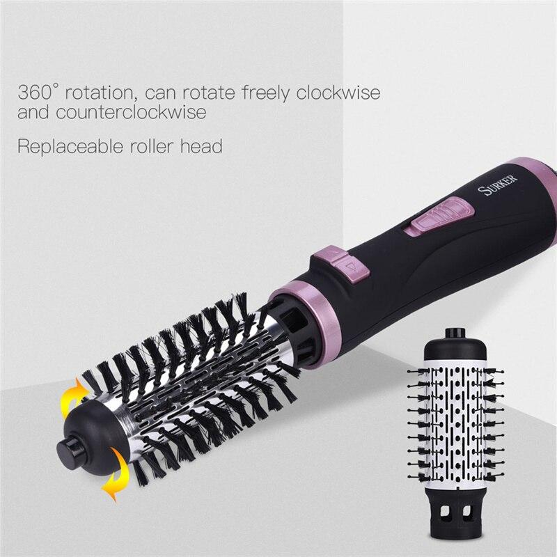 2 en 1 brosse rotative Air chaud Styler peigne fer à friser rouleau brosse à coiffer sèche-cheveux coup avec buses 2 vitesses et 3 réglage de la chaleur