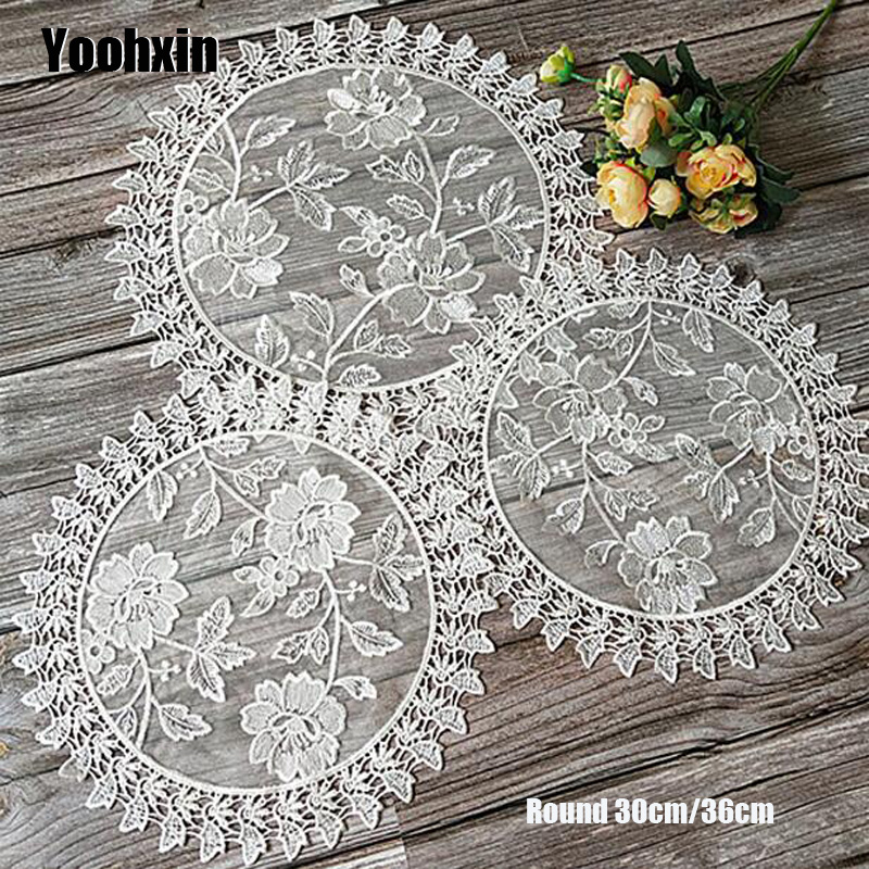 Luxury Lace White Round Embroidery Table Place Mat Christmas Pad
