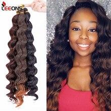 Leeons 18 Cal głęboka fala Twist szydełkowe włosy naturalny syntetyczny warkocz włosy Ombre woda fala włosy plecione rozszerzenia Low Tempreture