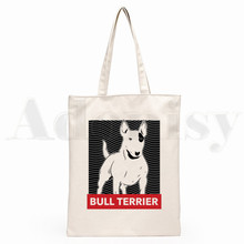 Bull Terrier Dog Pet Design Funny Graphic Hipster Cartoon Print Shopping Bags Girls Fashion Casual Pacakge Hand Bag