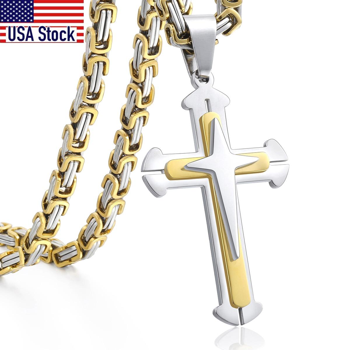 Men's Cross Necklace Gold Black Cross Pendant Stainless Steel Byzantine Chain Necklace 2018 Hip Hop Male Jewelry KP180|byzantine chain|cross pendantchain gold - AliExpress