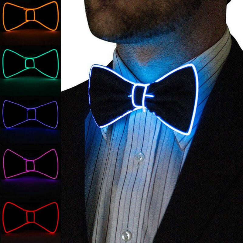 Men Bow Tie Men LED Wire Necktie Bowtie Luminous Flashing Light Up Bow Tie For Club Party