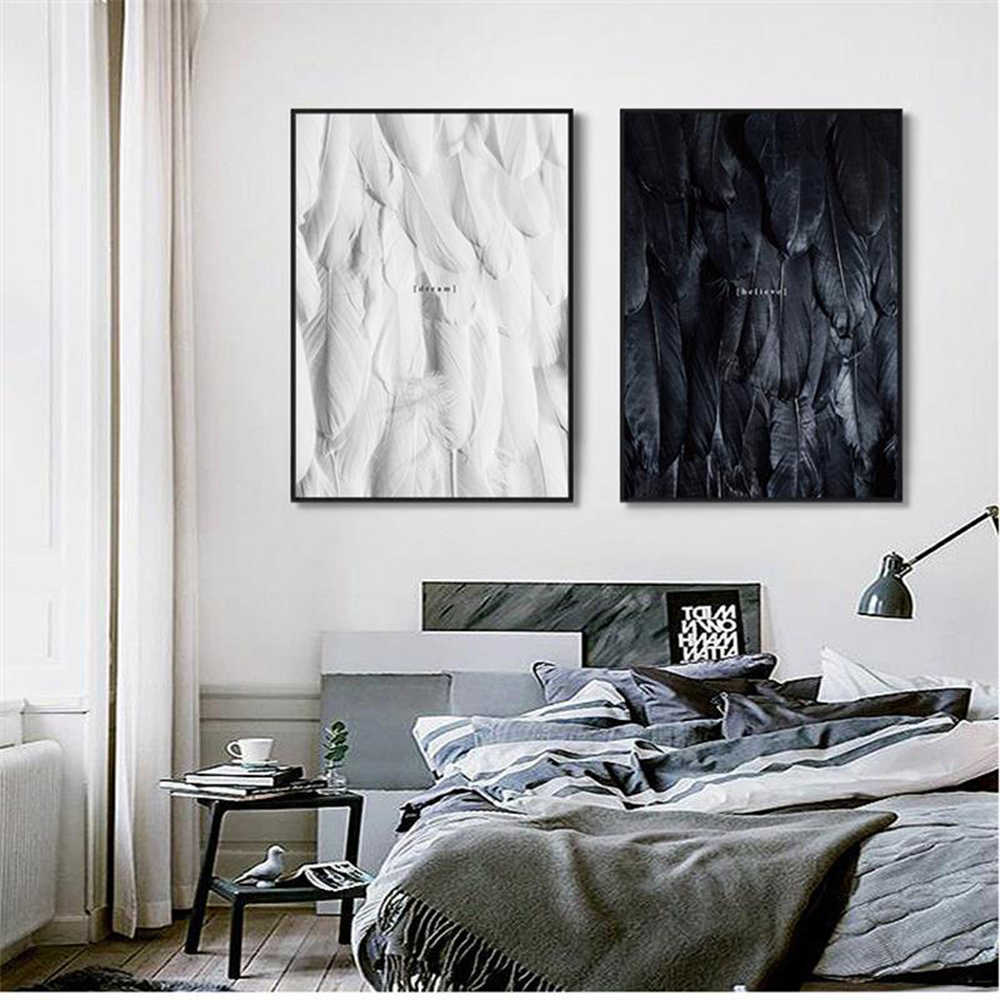 Hot Black And White Feathers Canvas Painting Nursery Wall Art Nordic Picture Wall Pictures Baby Kids Room Decor Poster