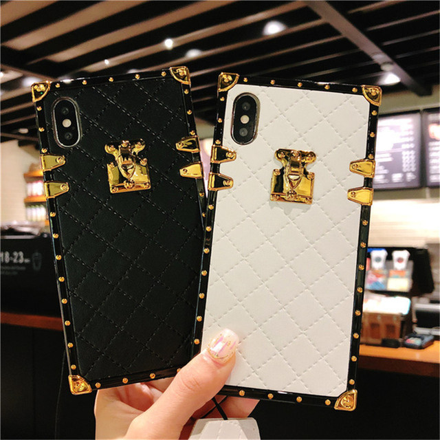 For iPhone11 Pro MAX X XR XS MAX 6 6S 8 7 Plus Luxury Square Leather Cover For Samsung S8 S9 S10 S20 Ultra plus Note 8 9 10 PRO