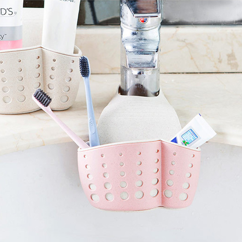 Kitchen Sponge Drain Rack Sink Sponge Holder Wheat Fiber Storage Basket Bathroom Organizer Soap Shelf Hanging Basket Wash