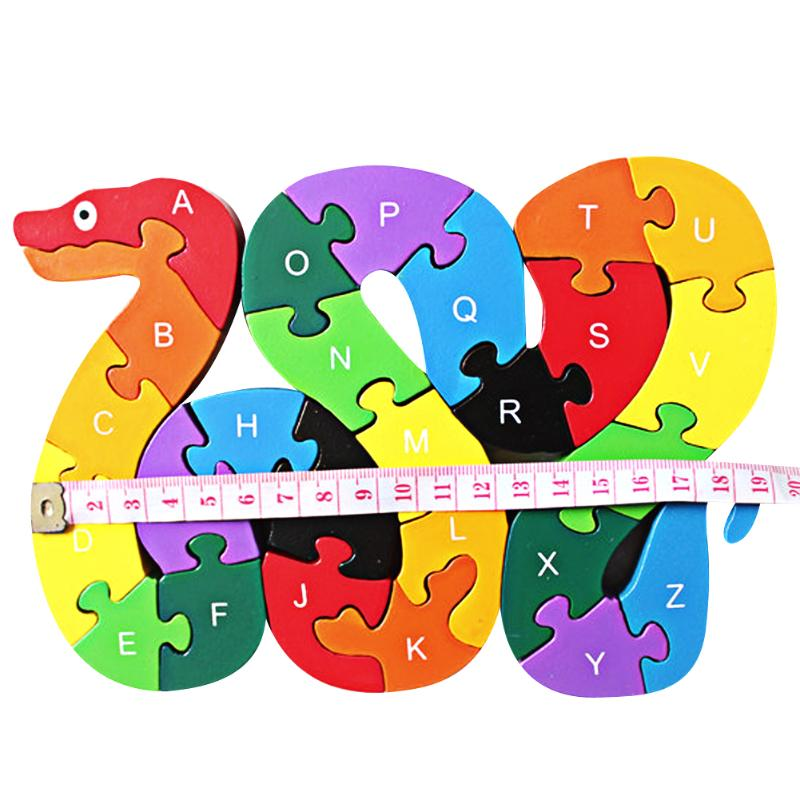 Wood Spelling Words Game Children Toys Puzzle 26 English Alphanumeric Lovely Snake Puzzle Toy Wooden Montessori Educational Toy