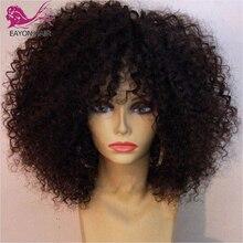 Eayon Afro peruka z kręconych włosów typu Kinky ludzki włos z Bangs brazylijski Remy włosy maszyna peruka z głowy Top 200% gęstości dla czarnych kobiet