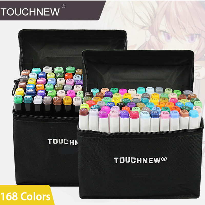 12 Colors Art Marker Set Alcohol Based Sketch Markers Brush Pen For Drawing Manga Design Supplies 168 Colors Optional