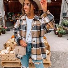 Primavera outono vintage xadrez casaco feminino streetwear manga longa grosso lã casacos topo moda bolso oversized lapela camisas