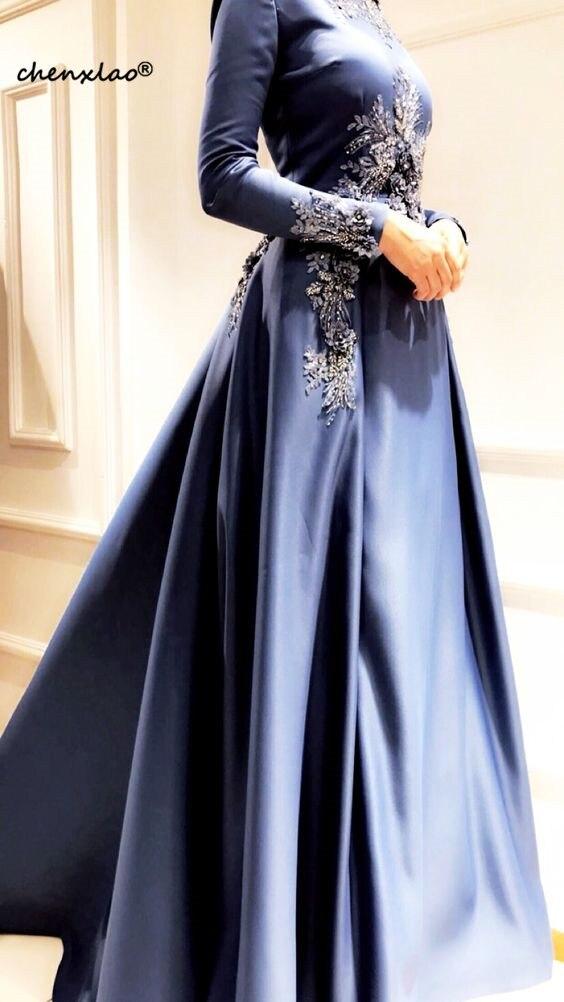 Elegante muçulmano vestidos de noite manga longa dubai árabe vestidos de noite com apliques frisado uma linha formal turquia médio oriente baile - 2
